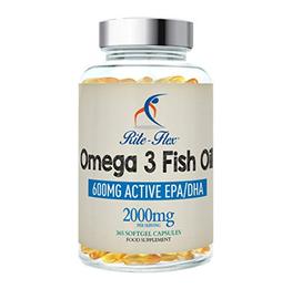 Rite-Flex, Olio di Pesce Omega 3, Integratore Alimentare di EPA e DHA (365 Capsule Softgel)