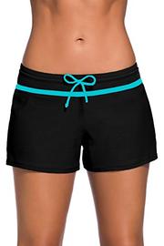 Yavero Pantaloncini da Bagno Donna Costumi Pantaloncini Asciugatura Rapida Pantaloncini da Mare con Drawstring Regolabile Nero Blu L