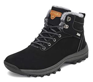 Pastaza Stivali da Neve Uomo Donna Trekking Scarpe Inverno Impermeabili Outdoor Pelliccia Sneakers Nero,43EU