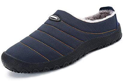 Pantofole Casa/Esterno Donna Uomo Scarpe Inverno Calde e Morbide con Comode Imbottitura Interna e Suola Spessa Antiscivolo,Blu 37