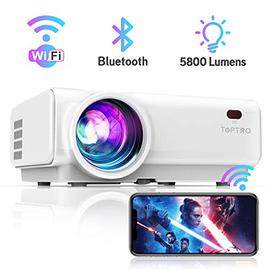 """Mini Bluetooth WiFi Proiettore,TOPTRO Proiettore Aggiornato con Mirroring Wireless da 5800 lumen,200"""" Proiettore Portatile da Home Theater,Compatibile con TV Stick/ TVbox/Smartphone/PC/Laptop/PS4"""