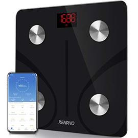RENPHO Bilancia Pesapersone Intelligente Bluetooth Bilancia Pesa Persona Digitale con App - Misura Peso Corporeo, Massa Grassa, BMI, Massa Muscolare, Massa Ossea, Proteine, Nero