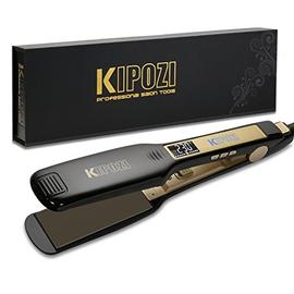 KIPOZI Piastra per Capelli Professionale, Piastra Larga in Titanio con Display Digitale LCD, Adatta a Tutti i Tipi di Capelli, Doppia Tensione (Nero)