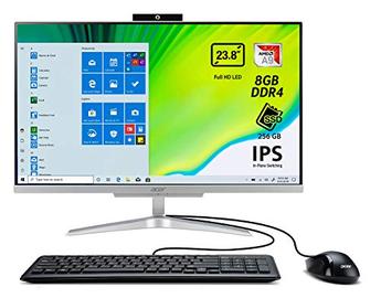 Acer Aspire C24-320 All in one con Processore AMD A9-9425, Ram da 8GB DDR4, SSD 256GB, Display 23.8' FHD IPS LED LCD, Scheda Grafica AMD Radeon R5, Wireless Lan, Tastiera e Mouse USB, Windows 10 Home