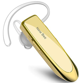 Auricolare Bluetooth New Bee Auricolare wireless Bluetooth Vivavoce nell'orecchio con tecnologia Clear Capture Bluetooth Auricolare In-Ear per iPhone Samsung Huawei HTC, Sony, ecc. (nero) (d'oro)