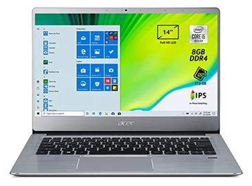 "Acer Swift 3 SF314-58-597S Pc Portatile, Notebook con Processore Intel Core i5-10210U, 8 GB DDR4, 512 GB PCIe NVMe SSD, Display 14"" FHD IPS LED LCD, Scheda Grafica Intel UHD, Windows 10 Home, Silver"