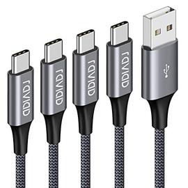 Cavo USB C, RAVIAD [4Pezzi, 0.5m 1m 2m 3m] Nylon Intrecciato Cavo USB Tipo C di Ricarica Rapida e Trasmissione per Samsung Galaxy S10/ S9/ S8 Plus, Huawei P30/ P20/ Mate20, Sony Xperia XZ (Grigio)