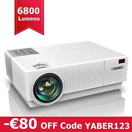 """Proiettore, YABER 6800 Lumen Videoproiettore 1080P Nativa (1920x1080) ±50° Trapezoidale Correzione Led Full Hd 300"""" Videoproiettore Domestico Per Iphone, Smartphone, Pc, Tvbox, Laptop, Ps4"""