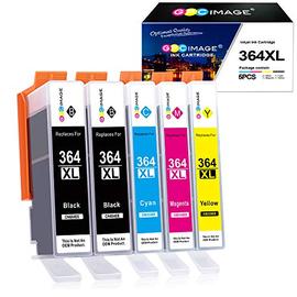 GPC Image 364xl 364 xl Cartucce d'inchiostro Compatibili per HP Deskjet 3070A, Photosmart 5510 5520 6510 6520 7510 B8550 B110c B010a C510A C5370 Stampante(2 Nero, 1 Ciano, 1 Magenta, 1 Giallo,5-Pacco)