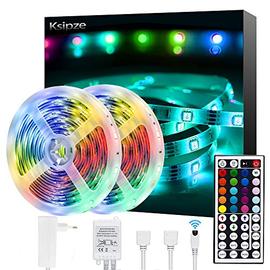 Ksipze Striscia LED 10M RGB LED Colorati Luci Led Light Strip con 44 Tasti telecomando Luminosità Regolabile Nastri Led Retroilluminazione per TV Camera Cucina Sottopensile Decorazione,2pcsX5m