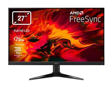 """Acer Nitro QG271bii Monitor Gaming FreeSync da 27"""", Display Full HD, 75 Hz, 1 ms, 16:9, HDMI 1.4, VGA, Lum 300 cd/m2, ZeroFrame, Cavi VGA, HDMI Inclusi, Nero"""