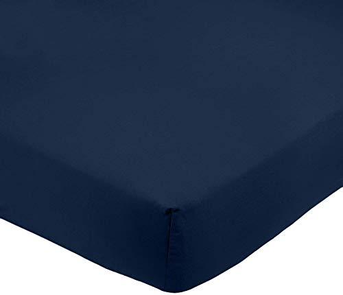 AmazonBasics - Lenzuolo angoli microfibra 160 200 30 cm Blu scuro AmazonBasics 0841710199512 Blu Scuro FTD-NBL-007