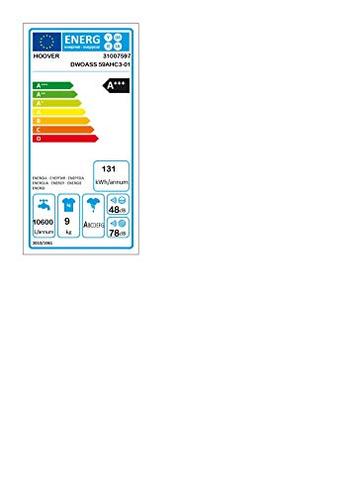 Hoover - Lavatrice DWOASS 59AHC3-01 9 Kg Classe Centrifuga 1500 giri Hoover 8016361931756 Bianco DXOA 4438 AHC3