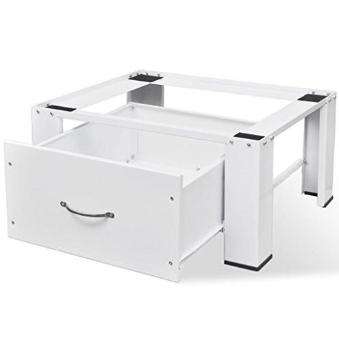 vidaXL Supporto Acciaio Bianco Cassetto Lavatrice Standard Telaio Alzatina vidaXL 8718475945345 Bianco
