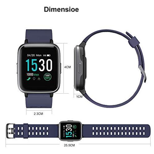 YAMAY Smartwatch Orologio Fitness Uomo Donna Impermeabile IP68 Smart Watch Cardiofrequenzimetro Polso Contapassi Smartband Activity Tracker Bambini Cronometro Android Ios YAMAY Blu CE