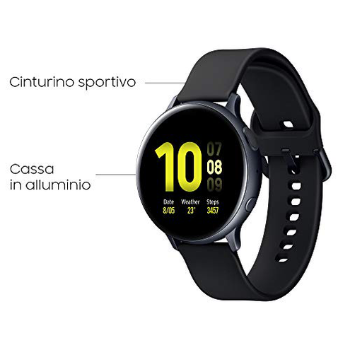 Samsung Galaxy Watch Active2 Smartwatch Bluetooth 44 mm Alluminio Cinturino Sport GPS Sensore Frequenza Cardiaca Tracker Allenamento IP68 Aluminium Black Versione Italiana SAMSUNG 8806090076381 Aluminium Black CE
