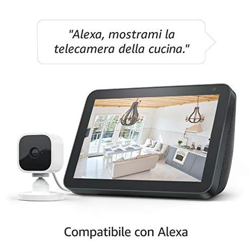 Ti presentiamo Blink Mini - Videocamera sicurezza intelligente interni plug-in compatta video HD 1080p rilevazione movimento compatibile Alexa 1 videocamera Blink Home Security 0840080559834 WHITE 53-023423