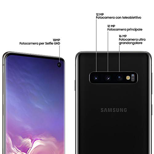 Samsung Galaxy S10 Smartphone Display 6 1 Dynamic AMOLED 128 GB Espandibili RAM 8 GB Batteria 3400 mAh 4G Dual SIM Android 9 Pie Versione Italiana Prism Black SAMSUNG 8801643660420 Prism Black SM-G973FZKDITV CE