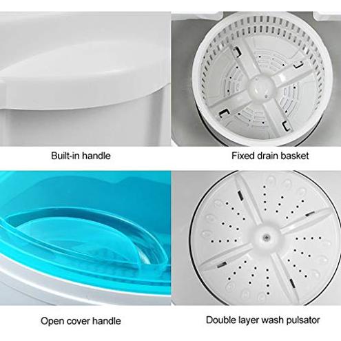 DAND Mini Lavatrice lavatrici Slim Campeggio Funzione Centrifuga Carico 4 2 kg 260 Watt Risparmio Energetico Acqua Ideale Single Studenti Camper White DAND 7373335823044 White