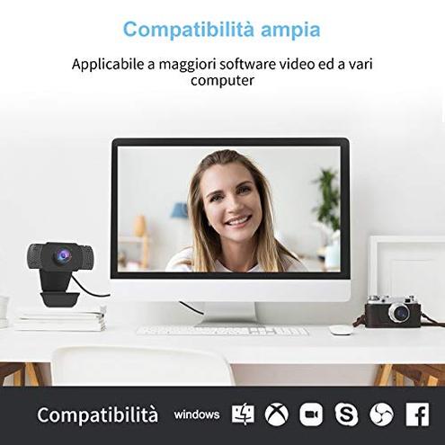 wansview Webcam 1080P Microfono Webcam PC Laptop Desktop Computer USB 2 0 Clip Regolabile Videochiamate Studi Registrazione Giochi wansview