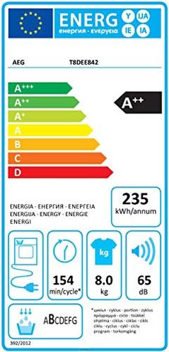 Aeg - Asciugatrice T8DEE842 Absolute Care 8 Kg Classe Pompa Calore AEG 7332543490738 125128