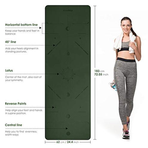 Homtiky Tappetino Yoga Yoga Mat Fitness Pilates Palestra Imbottito Antiscivolo Dimensione 183 62 0 6 cm Homtiky 0711745999503 Verdescuro