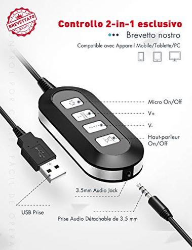 Mpow 071 Cuffie pi Compatibile USB 3 5mm Microfono Cancellare Rumore Computer Cuffie Comodo Leggere Scheda Audio Padiglione Morbido Perfetto Skype Call Center Onlinegame ECC Mpow 0796826916976 1 Nero PA071A CE