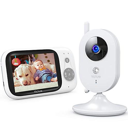 Victure Baby Monitor Videocamera Babyphone VOX Notturna Visione Temperatura 8 Ninne Nanne Audio Due Vie Attivazione Vocale Telecamere 930mAh Batteria Schermo 3 2 LCD Victure 0613464473367 Bianco BM32 CE