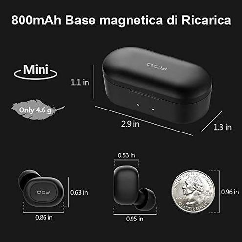 HOMSCAM Cuffie Bluetooth 5 0 Auricolari Bluetooth Senza Fili Auricolari Wireless Stereo Sportivi Ear Custodia Ricarica 800mAh Microfono Leggeri Hi-Fi iOS Android Smartphone PC HOMSCAM Nero Wireless