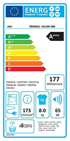 AEG T8DBE851 Asciugatrice ProTex Plus Optisense 8 Kg Classe Condensazione Pompa Calore AEG 7332543490790 Bianco T8DBE851 principali elettrodomestici