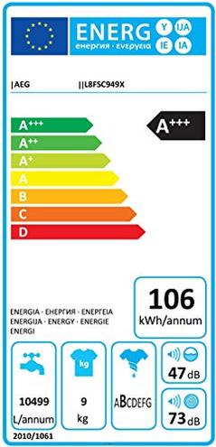 Aeg - Lavatrice Standard L8FSC949X Serie 8000 KOMix 9 Kg ClasseA -50 Centrifuga 1400 Giri AEG 7332543509171 125442 CE
