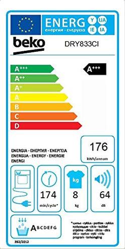 Beko DRY833CI Libera installazione Carica frontale 8kg Bianco asciugatrice Beko 8690842164163 DRY833CI principali elettrodomestici