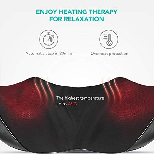 Naipo Massaggiatore Collo Spalle Shiatsu Elettrico Massaggi Cervicale Schiena Profondo Massaggio Impastante Funzione Riscaldamento Uso Domestico Ufficio Naipo 0608807072581 Nero MGS-150D