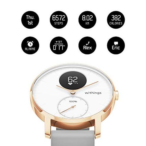 Withings Steel HR Smartwatch Ibrido Orologio sportivo misurazione frequenza cardiaca dell'attivit sonno notifiche Withings 3700546704260 Bianco Silicone Grigio - 36mm 36white - RG - Grey-All-Inter Sport
