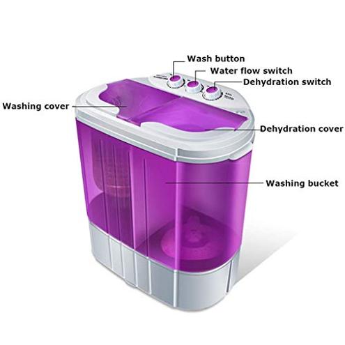 LCC Lavatrice Doppia Vasca compatta 6KG Lavaggio 4KG Asciugatura 2KG Lavasciuga centrifuga Portatile dormitori Appartamenti Campeggio Viola LCC 6199338689231 Purple