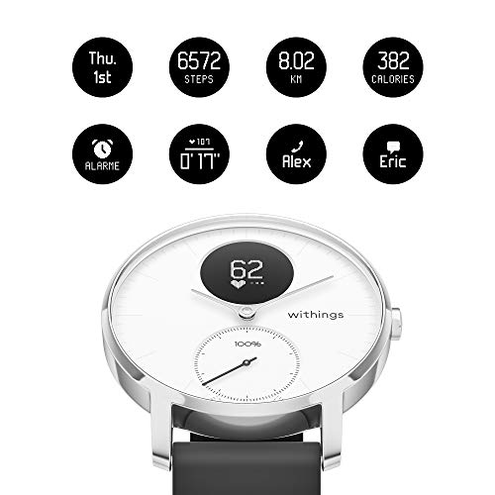 Withings Steel HR Smartwatch Ibrido Orologio sportivo misurazione frequenza cardiaca dell'attivit sonno notifiche Withings 3700546702549 Bianca HWA03-36white-All-Inter