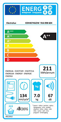 Electrolux EDH4074GOW Asciugatrice Carica Frontale 7 Kg 67 dB Bianco Electrolux 7332543683611 Bianco EDH4074GOW principali elettrodomestici