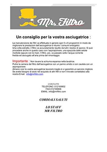 Filtro Spugna Asciugatrice Numero modello HSCX 80426 Serie 857501661050 G1650 Giaime Filtri 8015829916502 principali elettrodomestici