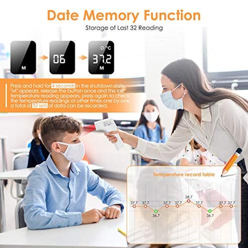 IDOIT Termometro professionale medico Termometro digitale distanza 15-50MM Termometro frontale infrarossi Indicatore intelligente febbre Memoria 32 letture adulti neonati bambini IDOIT 0610452884624