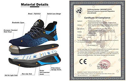 TQGOLD Scarpe Antinfortunistica Uomo Donna S3 Estive Leggere Scarpe Lavoro Punta Acciaio Scarpe Blue Taglia 40 TQGOLD 8195 Blue