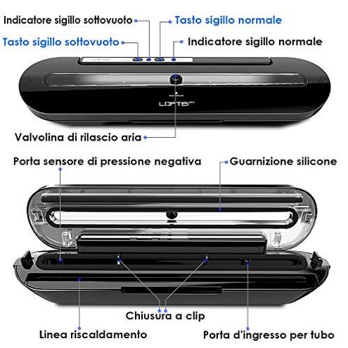 Macchina Sottovuoto Alimenti Professionale LOFTER Sigillatrice Sottovuoto Automatica Portatile Vacuum Sealer Sigillatore Vuoto Macchinetta Cibi Sottovuoto 10 Sacchetti 1 Tubo LOFTer 0703363808312 Nero