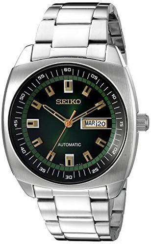 Seiko SNKM97 analogico uomo verde quadrante orologio automatico acciaio INOX argento Seiko 0296651766772 Green SNKM97 Orologio