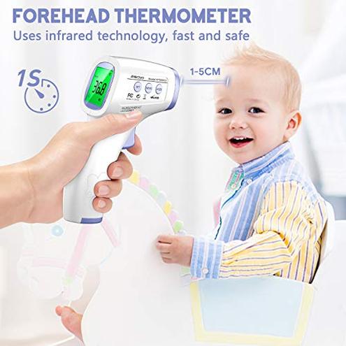 Termometro Febbre Infrarossi Termometro Frontale Digitale Senza Contatto Termometri Lettura Accurata Istantanea Allarme Febbre Adulti Neonati Bambini ANKOVO