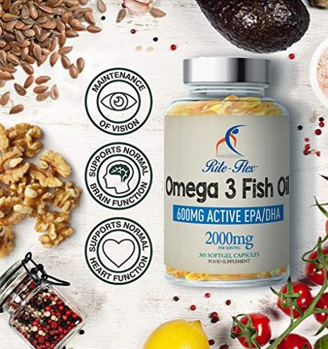 Rite-Flex Olio Pesce Omega 3 2000mg Integratore Alimentare 600mg EPA DHA 365 Capsule Softgel Rite-Flex 5060315420554 Salute bellezza