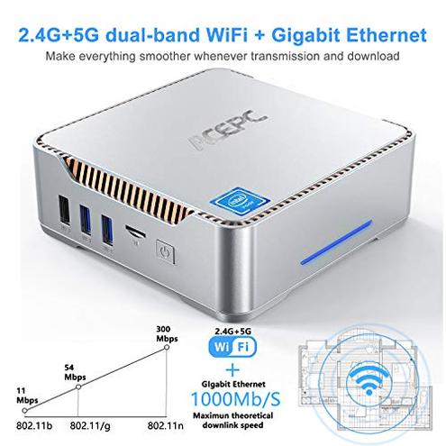 Mini PC ACEPC Intel Celeron J4125 6GB RAM 128GB ROM Windows 10 Pro Mini Computer Desktop Supporto 2 5'' SATA SSD HDD Dual WiFi 2 4 5G Bluetooth 4 2 4K HD 2 HDMI 1 VGA USB 3 0 ACEPC AK3V 6 120 Silver PRO