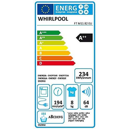 Whirpool FTM1182EU - Asciugatrice 8 Kg classe Pompa clore Whirpool 8003437602580 13339334