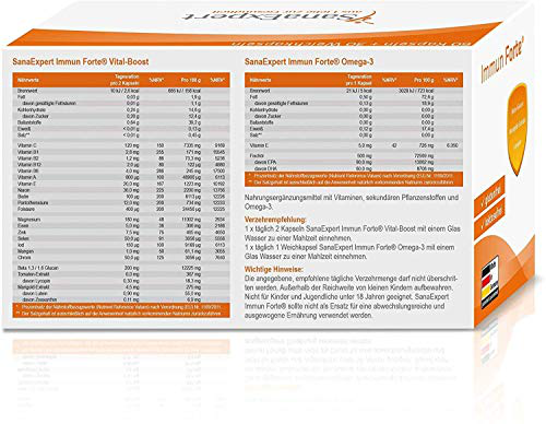 SanaExpert Immun Forte vitamine il sistema immunitario omega-3 beta-glucano estratto calendula licopene luteina 1 confezione mensile 90 capsule 69 SanaExpert 4260423960084 4260423960084 Salute bellezza