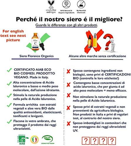 60ml Bio Siero Viso Acido Ialuronico Puro 100 Biologico Vitamina Noti Agenti Antirughe Antimacchie Antiet Anche Contorno Occhi Dermaroller - Vegano Made Italy Florence 0608614693054 Bellezza