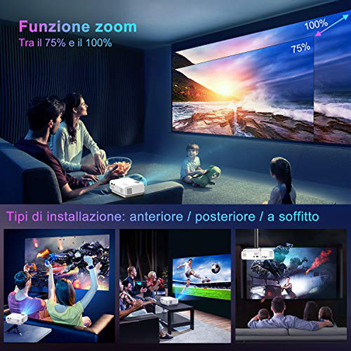 Mini Bluetooth WiFi Proiettore TOPTRO 5800 Lm Proiettore Aggiornato Mirroring Wireless 200 Proiettore Portatile Home Theater Compatibile TV Stick TVbox Smartphone PC Laptop PS4 TOPTRO 6941260432047 Bianca