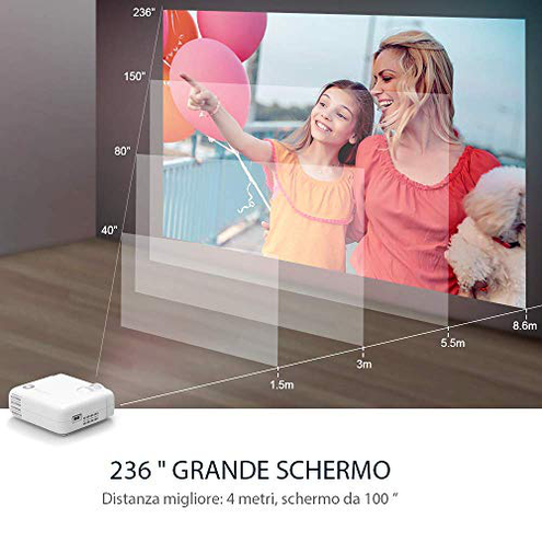 VANKYO Proiettore Videoproiettore 5000 Lumen 236 Display Supporta 1080P HiFi Speaker Borsa Portatile TV Stick iOS Android Entry-Level Regalo Leisure 430 vankyo 0631384821167 Bianco K18 CE